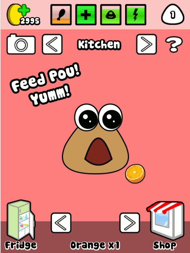 pou virtual pet game feeding